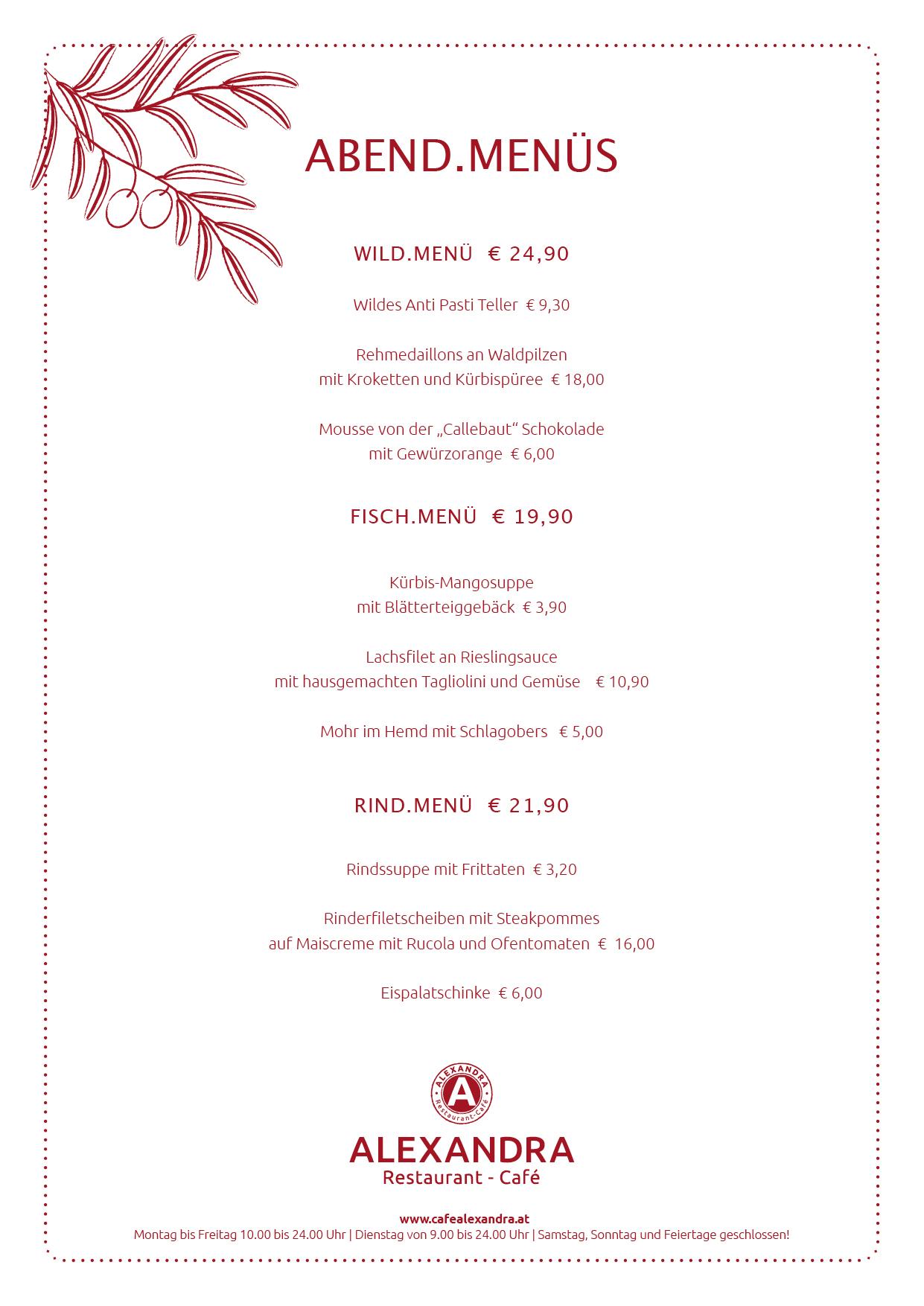 Menü Weihnachten.Cafe Restaurant Alexandra Weihnachten Im Dezember 2013