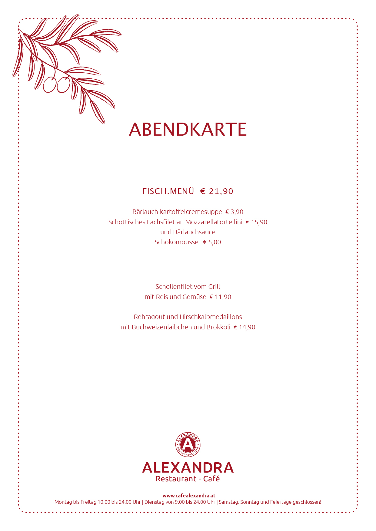 Cafe Restaurant Alexandra Abendmenue 2014 KW März 01