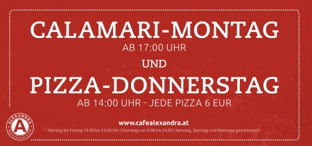 Kalamari Montag und Pizza Donnerstag